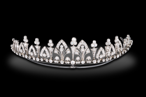 A BELLE EPOQUE DIAMOND TIARA/NECKLACE