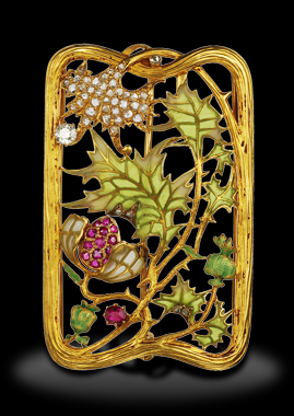 AN ART NOUVEAU GEM-SET ENAMEL BUCKLE BROOCH, BY LUIS MASRIERA