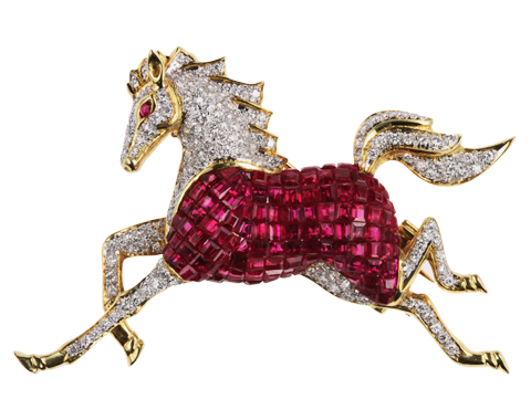 A RUBY AND DIAMOND HORSE BROOCH